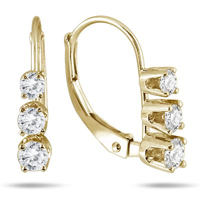 1/2 Carat Three Stone Drop Earrings in 10K Yellow Gold