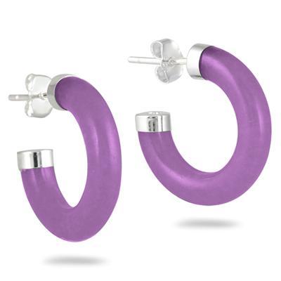 All Natural Lavender Jade Hoop Earrings in .925 Sterling Silver