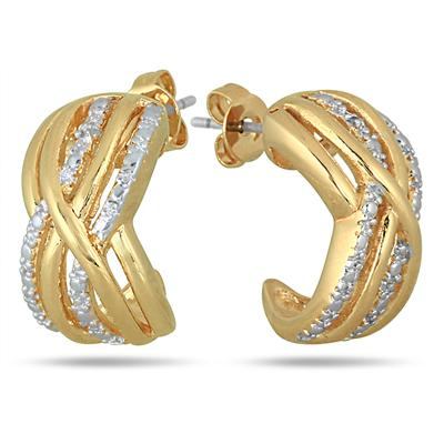 18K Gold Plated Brass Diamond Earrings