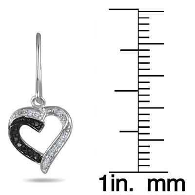 1/5 Carat Black and White Diamond Drop Heart Earrings in .925 Sterling Silver