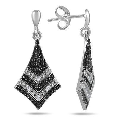 1/10 Carat Black and White Diamond Drop Earrings in .925 Sterling Silver