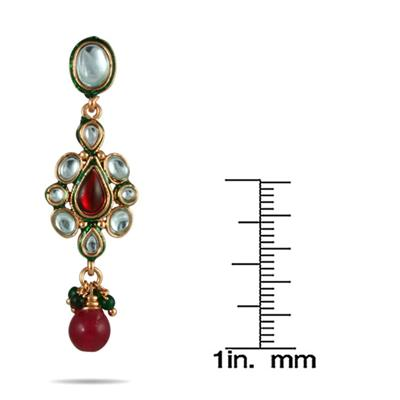Multicolor Crystal and Bead Drop Earrings in Brass