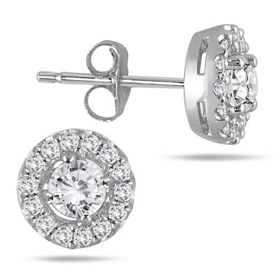 3/8 Carat TW Diamond Halo Earrings 10K White Gold
