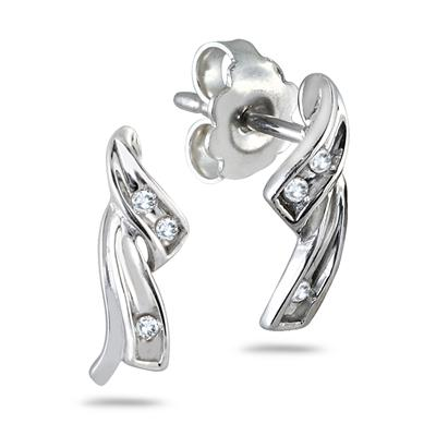 1/10 Carat Diamond Earrings in .925 Sterling Silver