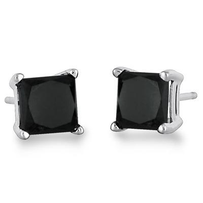 1.00 Carat Genuine Princess Black Diamond Solitaire Earrings in .925 Sterling Silver