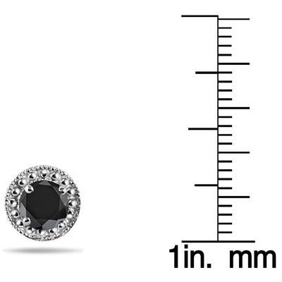 1 Carat Black Diamond Stud Earrings in .925 Sterling Silver