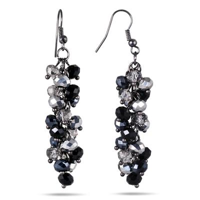 Black and White Crystal Drop Earrings in .925 Sterling Silver