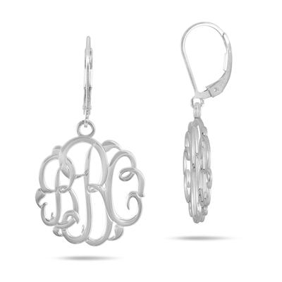 Monogram Initial Earrings in .925 Sterling Silver
