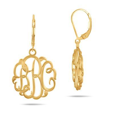 Monogram Initial Earrings in 24K Gold Plated Sterling Silver