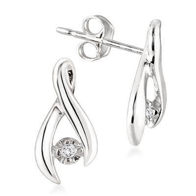 Diamond Twist Earrings in .925 Sterling Silver