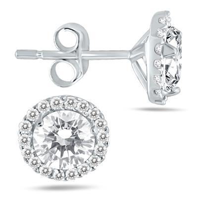 1 1/4 Carat TW Diamond Halo Earrings in 14K White Gold