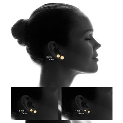 14K Yellow Gold 8mm Laser Cut Ball Stud Earrings