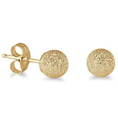 Szul 14K Yellow Gold 5MM Laser Cut Ball Stud Earrings
