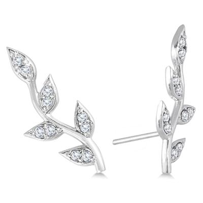 1/5 Carat TW Diamond Vine and Leaf Earrings in 14K White Gold