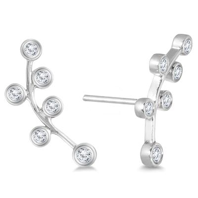 1/4 Carat TW Diamond Bauble Earrings Set in 14K White Gold