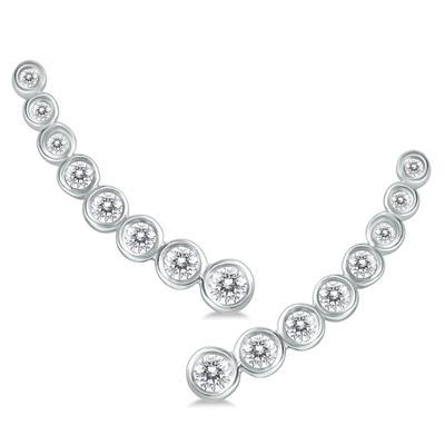 3/8 Carat TW Bezel Set Diamond Climber Earrings in 14K White Gold