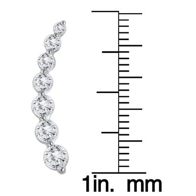 1 1/4 Carat TW Diamond Climber Earrings Set in 14K White Gold