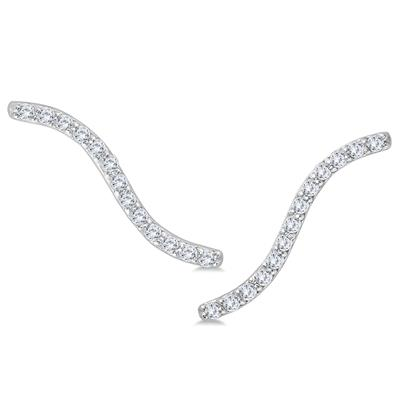 1/4 Carat TW Diamond Climber Earrings in 14K White Gold