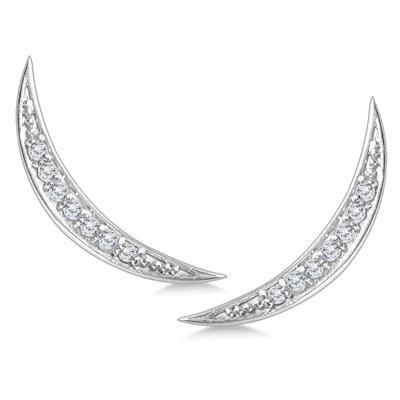 1/8 Carat TW Diamond Climber Earrings Set in 14K White Gold