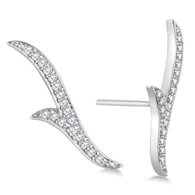1/5 Carat TW Diamond Climber  Earrings in 14K White Gold