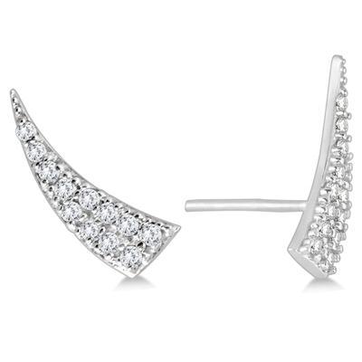 1/4 Carat TW Diamond Climber Earrings in 14K White Gold
