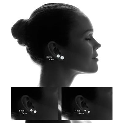 10K White Gold 8mm Ball Stud Earrings