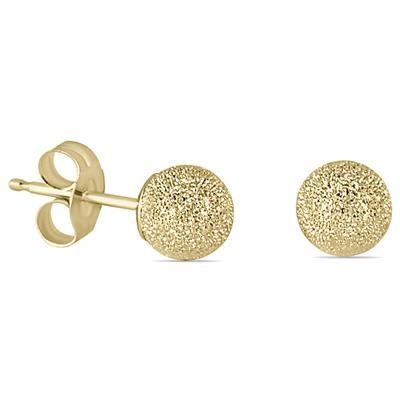 Szul 14K Yellow Gold 4mm Laser Cut Ball Stud Earring