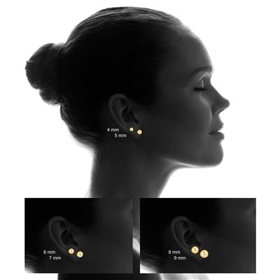 14K Yellow Gold 4mm Laser Cut Ball Stud Earrings