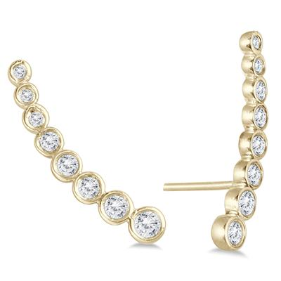 3/8 Carat TW Bezel Set Diamond Climber Earrings in 14K Yellow Gold