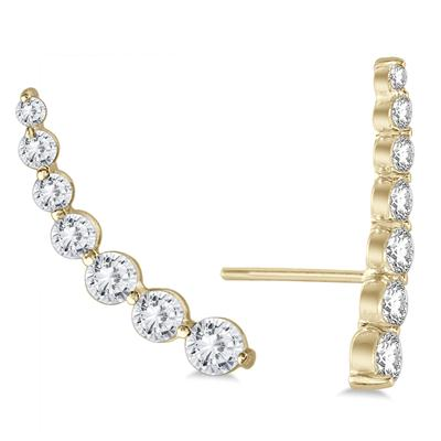 1 1/4 Carat TW Diamond Climber Earrings Set in 14K Yellow Gold