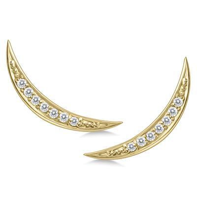 1/8 Carat TW Diamond Climber Earrings Set in 14K Yellow Gold
