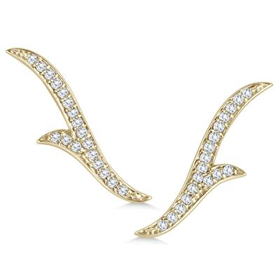 1/5 Carat TW Diamond Climber Earrings in 14K Yellow Gold
