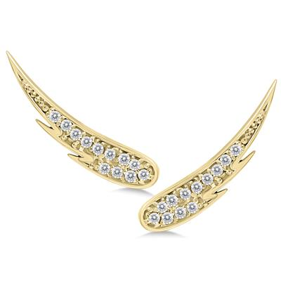 1/4 Carat TW Diamond Angel Wing Climber Earrings in 14K Yellow Gold