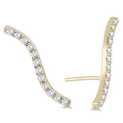 1/4 Carat TW Diamond Climber Earrings in 14K Yellow Gold