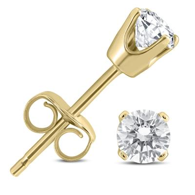 1/3 Carat TW AGS Certified Round Diamond Solitaire Stud Earrings in 14K Yellow Gold
