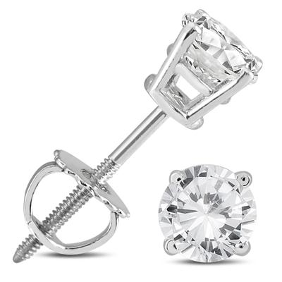 5/8 Carat TW AGS Certified Round Diamond Solitaire Stud Earrings in 14K White Gold