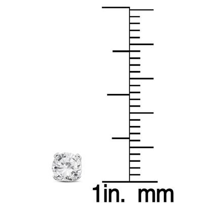1/3 Carat TW AGS Certified Round Diamond Solitaire Stud Earrings in 14K White Gold