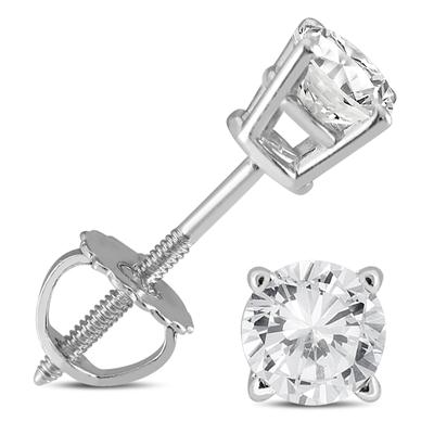 1/2 Carat TW IGI Certified Round Diamond Solitaire Stud Earrings in 14K White Gold