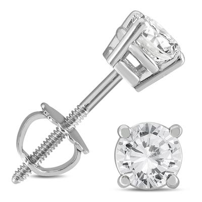 3/4 Carat TW IGI Certified Round Diamond Solitaire Stud Earrings in 14K White Gold