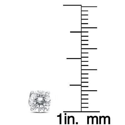 1 Carat TW AGS Certified Round Diamond Solitaire Stud Earrings in 14K White Gold