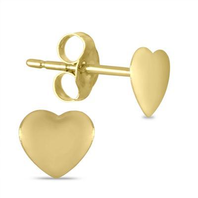 10K Yellow Gold 5mm Heart Earrings