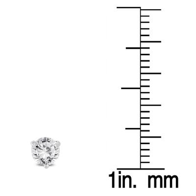3/4 Carat TW AGS Certified Martini Set Round Diamond Solitaire Earrings in 14K White Gold
