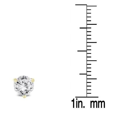 1 Carat TW AGS Certified Martini Set Round Diamond Solitaire Earrings in 14K Yellow Gold