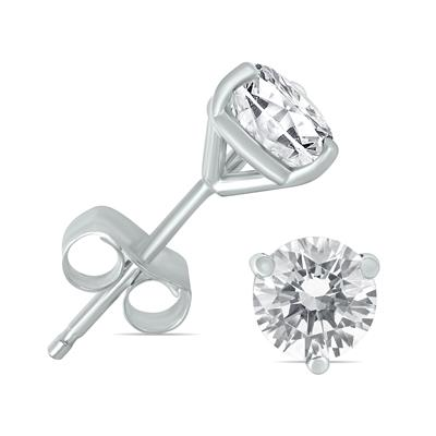 1/2 Carat TW AGS Certified Martini Set Round Diamond Solitaire Earrings in 14K White Gold (I-J Color, I1-I2 Clarity)