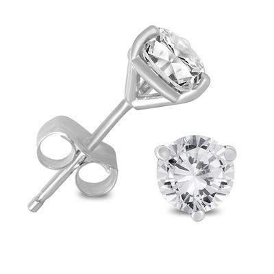 1 Carat TW AGS Certified Martini Set Round Diamond Solitaire Earrings in 14K White Gold (I-J Color, I1-I2 Clarity)