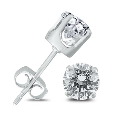 1 Carat TW AGS Certified Diamond Solitaire Stud Earrings in 14K White Gold