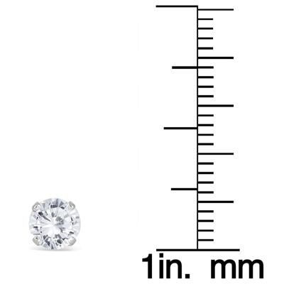 1 Carat TW AGS Certified Diamond Solitaire Stud Earrings in 14K White Gold (K-L Color, I2-I3 Clarity)