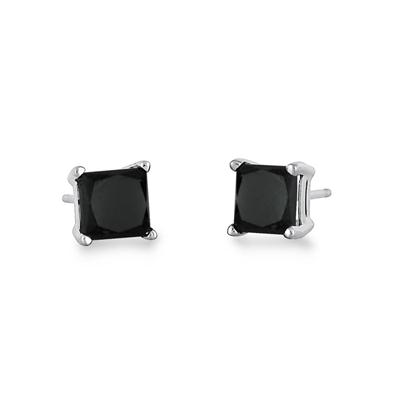 1 Carat TW Princess Square Black Diamond Solitaire Earrings in 10K White Gold