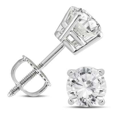 14K White Gold 1 1/2 Carat TW AGS Certified Diamond Solitaire Earrings