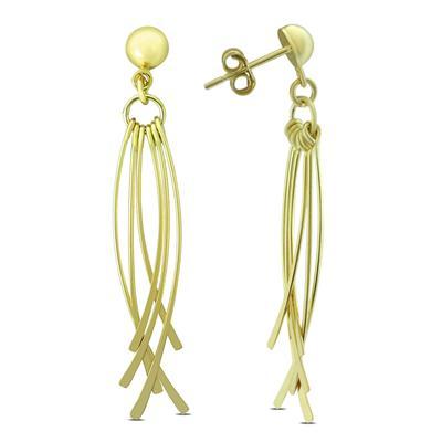 Dangle Earrings In Yellow Electro Plated .925 Sterling Silver Earrings